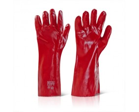 PVC GAUNTLET RED 16""